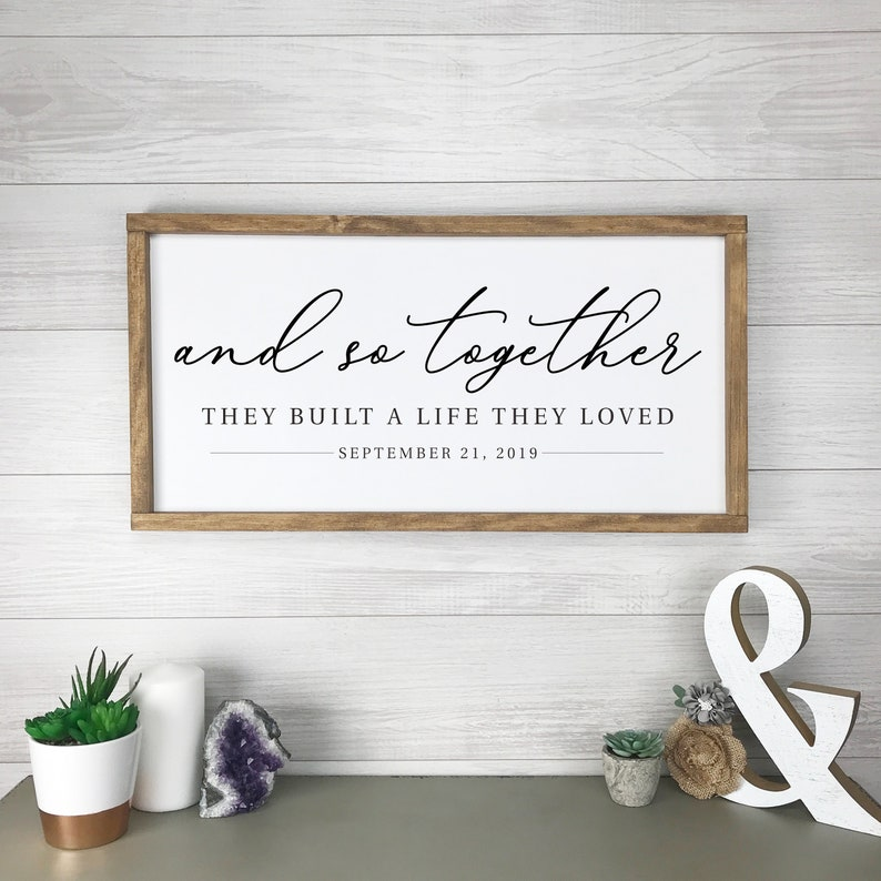 And So Together Wedding Sign Farmhouse Wall Decor Modern image 0