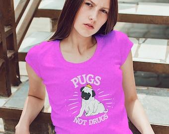 Pugs Not Drugs, Cute Pug Lovers Womens T Shirt