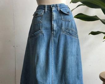 Vintage 70s Patchwork Denim Skirt 1970s Handmade High Waisted Pieced Skirt American Folk Art Size 24 XS