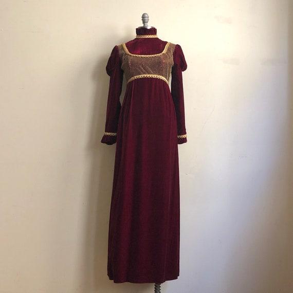 60s Vintage Handmade Medieval Mod Burgundy Velvet