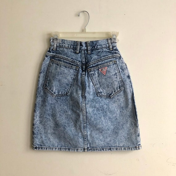 80s GUESS High Waisted Acid Wash Denim Pencil Skir