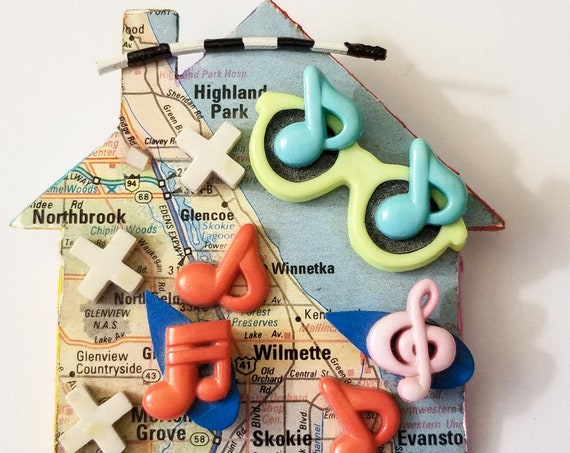 Chicago Music Themed House Pin - Vintage Handmade Artisan Piece