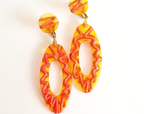 Vintage Vendome Plastic Dangle Earrings Hot Yellow and Orange 1960s