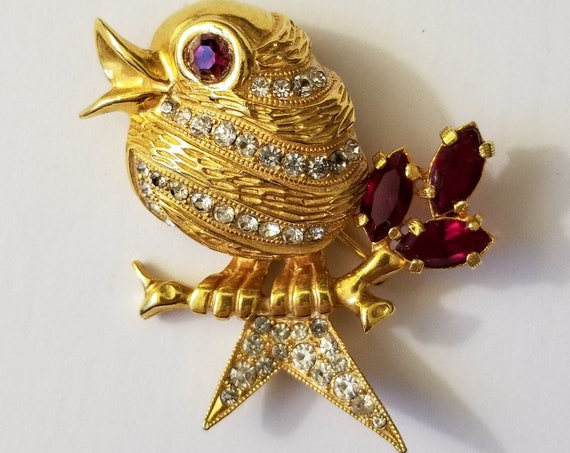 Eisenberg Bird Brooch in Textured Goldtone with Clear and Red Rhinestones