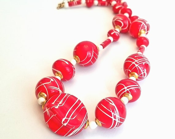 Vintage Plastic Bead Necklace - Red Beads with White Drizzle