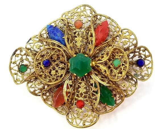 Vintage 1930s Czechoslovakia Brass Filigree Brooch with Faux Gemstones