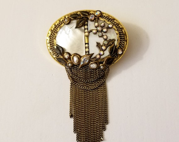 Marena Germany Art Deco Style MOP Brooch with Fine Chain Fringe