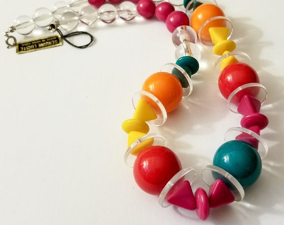 1960s Lucite Bead Necklace - Bright Colors with Clear Accents