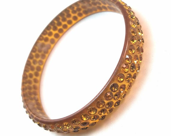 Vintage Deco Celluloid Rhinestone Bangle Bracelet
