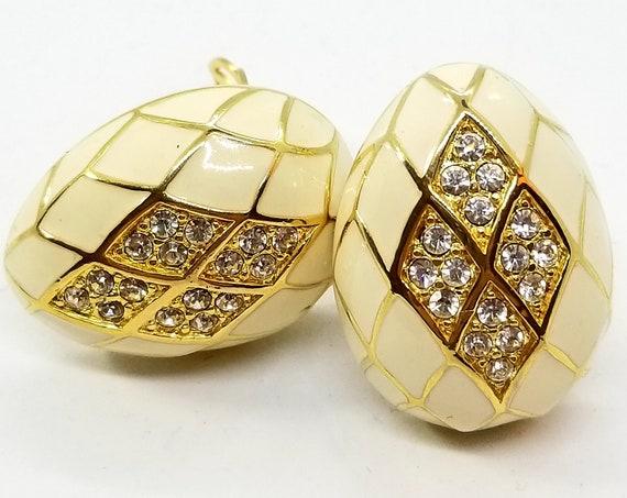 Joan Rivers White and Rhinestone  Harlequin 'Easter Egg' Earrings
