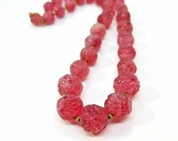 Vintage Pink Molded Glass Flower Bead Necklace on Fine Chain