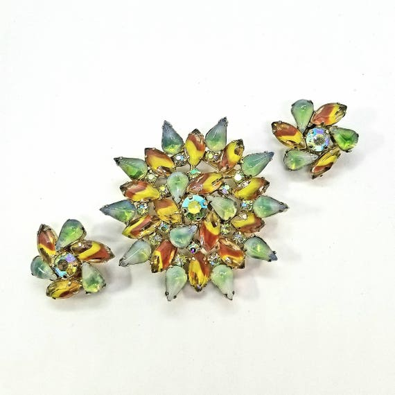 Vintage Green and Brown Starburst Givre Rhinestone Pin and Earring Set