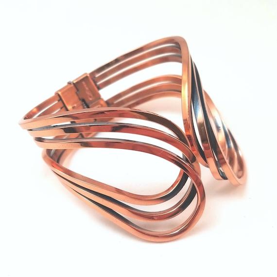 Renoir Copper Bracelet, Wire Clamper 'Rhythm' Design - Mid Century Vintage