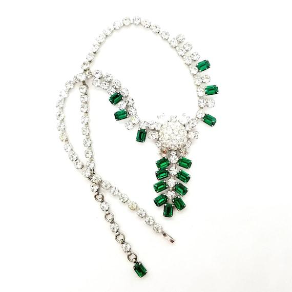Vintage Austrian Green Drop Rhinestone Necklace by Schoffel