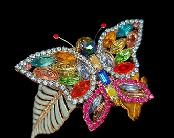 Rhinestone Butterfly Statement Art Cuff Bracelet - Composed OOAK Vintage Upcycled