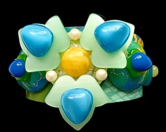 Stylized Flower Composed Art Cuff Bracelet in Blues and Greens