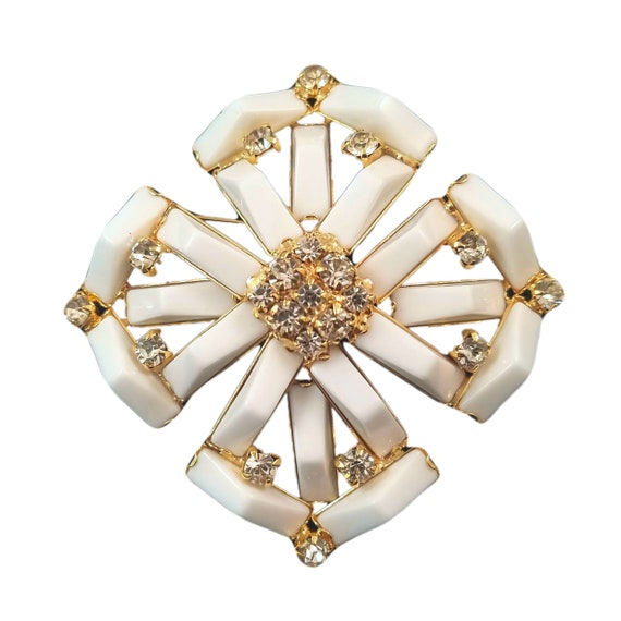 Vintage White Maltese Cross Pin with Smoky Rhinestone Accents