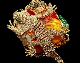 Lizard and Leaf Composed Art Cuff Bracelet - Statement OOAK Vintage Upcycled Runway