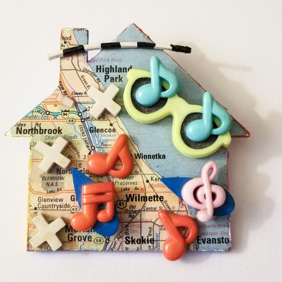 Chicago Music Themed House Pin - Vintage Handmade Artisan Piece