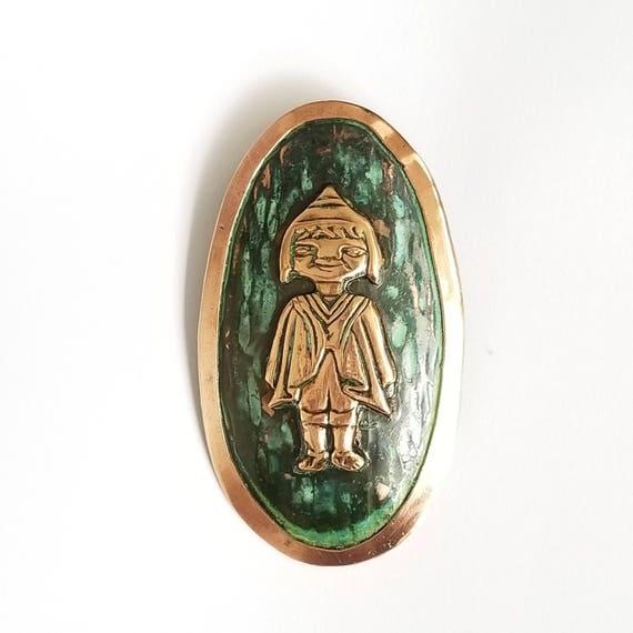 Vintage Copper Mayan Girl Oval Medallion Pendant