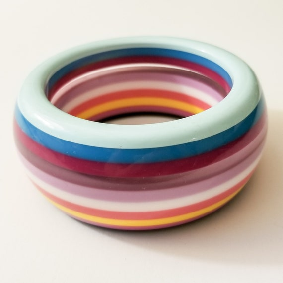 Chunky Layered Lucite Bangle Bracelet - Black, Clear and Pastels