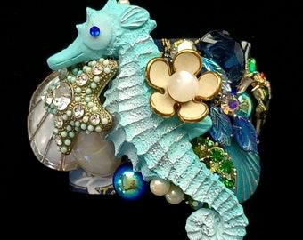Large Blue Seahorse Art Cuff Bracelet - Statement OOAK Vintage Upcycled Composed