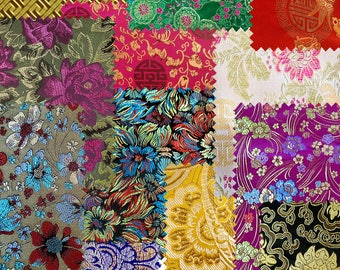 Set of 12 fabric brocade fabric patchwork E