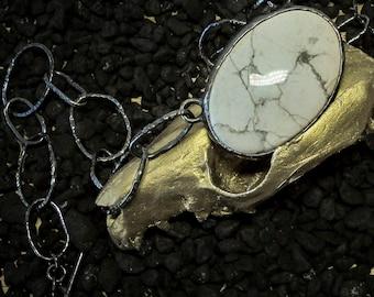 Howlite Oxidized Chain Choker