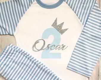 Birthday Set T-shirt//Pyjamas  First Princess Any Design Girl  Any Name Age 1,2,3