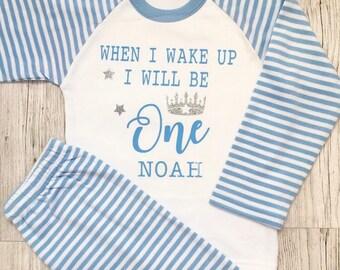Nightwear Pjs Pyjamas Baby Girl  Boy Birthday Personalised When I Wake Up
