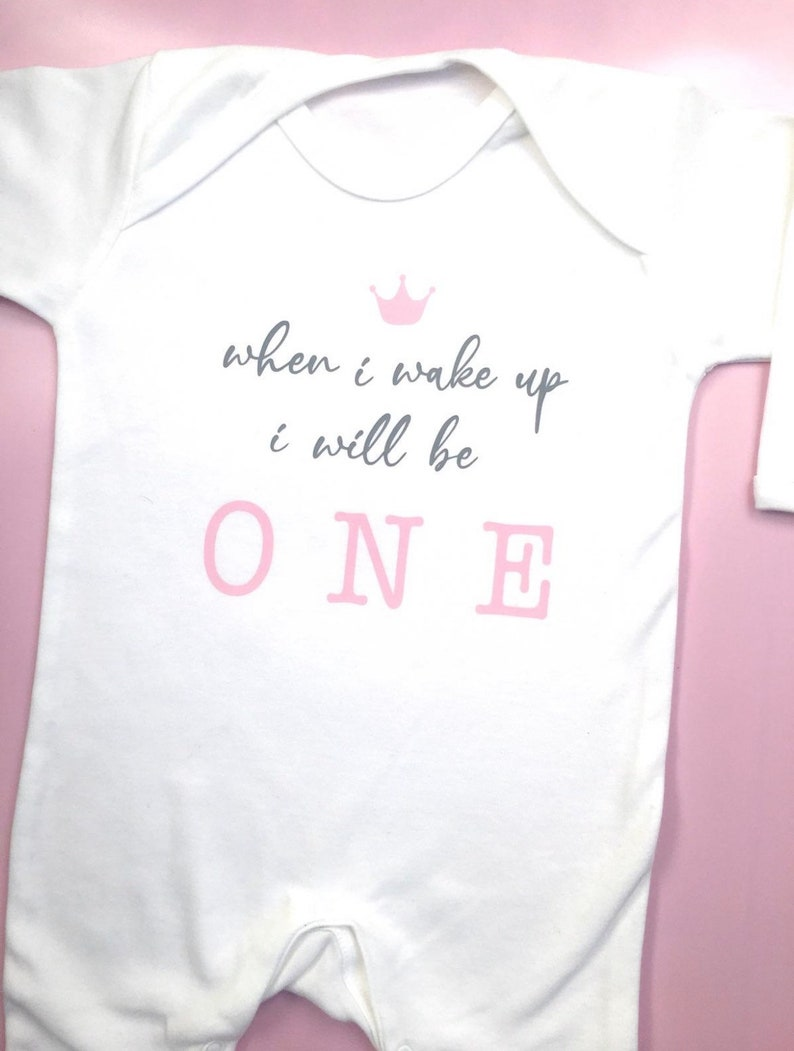 When I Wake Up I will be One Pjs Baby Girl First birthday pyjamas romper