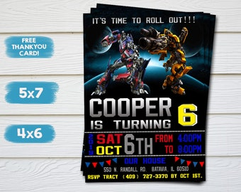 Transformers Invitation Birthday Party Bumblebee Optimus Prime Transphormers Personalized Printable Digital File