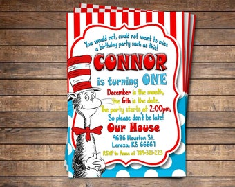 Cat in the Hat Invitation, Cat in the Hat Party Invite, Cat in the Hat Birthday Party, Dr Suess Invitation, Dr Seuss Party, Printable