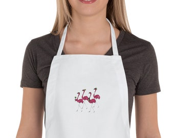 Funny Flamingos Drinking Mimosas Alcohol Embroidered Apron