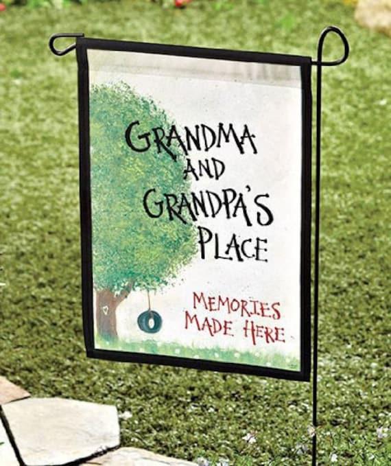 "Garden Flag Grandma & Grandpa's Place 18 x 11.5"" Great gift for the grandparents - Gifts for Grandma - Gift for Grandpa"