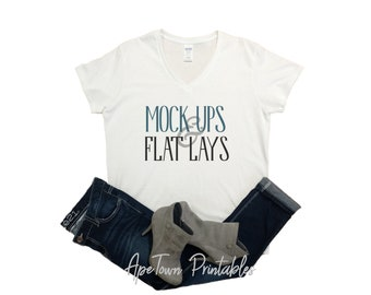 da4f84e22654 Blank VNeck White V-Neck T-Shirt Flat Lay Mock Up - Gildan 500VL Mockup -  Ladies Womens FlatLay - Short Sleeved Vinyl Apparel Display
