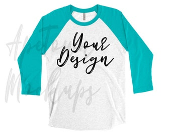 31a1d532c Next Level 6051 Raglan 3/4 sleeved - Mockup Flatlay - Unisex - tahiti blue