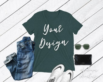 Download Free Shirt Mockup Bella Canvas | 3413 | Emerald Triblend outfit | Unisex | T-Shirt Photo Mockup | Shirt Flatlay | Wood Background grey PSD Template
