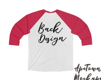 Download Free Next Level Back 6051 Raglan 3/4 sleeved - Mockup Flatlay - Unisex - Vintage Red heather White - svg shirt preview - vinyl business photo PSD Template