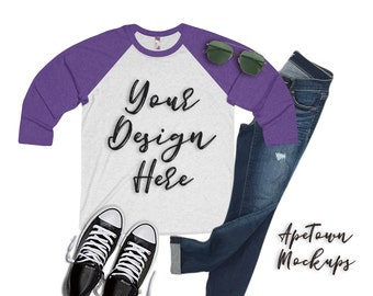 a3de5ff8b Next Level 6051 Raglan 3/4 sleeved - Mockup Flatlay - Unisex Mock up -  Purple Rush Heather White - svg shirt preview - vinyl business photo