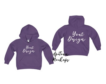 Download Free Purple Gildan 18500B toddler front back hoodie Blank Mock Up | White Background | Mockup | Shirt Flat Lay | svg mockup digital PSD Template