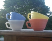 Set of Four Vintage Hazel Atlas Pastel Moderntone Teacups