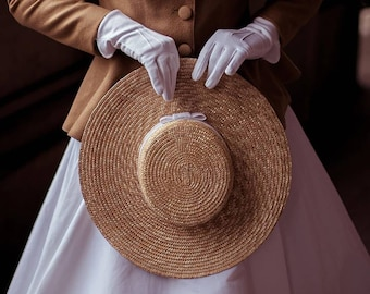 Edwardian inspired cartwheel 100% natural couture straw hat, made to measure