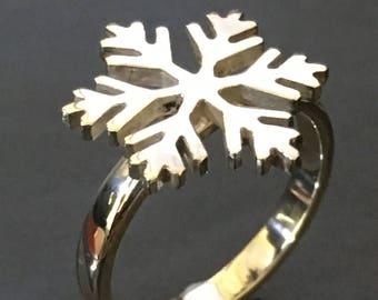 Silver SnowFlake Ring, Winter, Christmas,