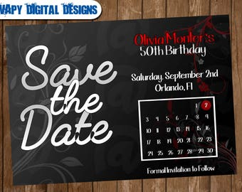 Save the date Digital  Party invitation customize invite birthday thank you card