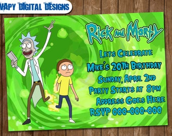 Rick and Morty Digital Party invitation customize invite birthday thank you card