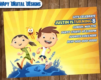 Justin Time Digital Party invitation customize invite birthday thank you card