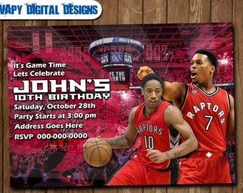 Toronto Raptors  Digital Party invitation customize invite birthday thank you card