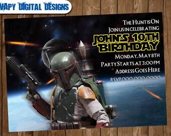 Boba Fett Bounty Hunter Digital Party Invitation Customize Invite Birthday Thank You Card