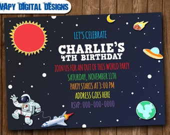 Space Astronaut Digital  Party invitation customize invite birthday thank you card